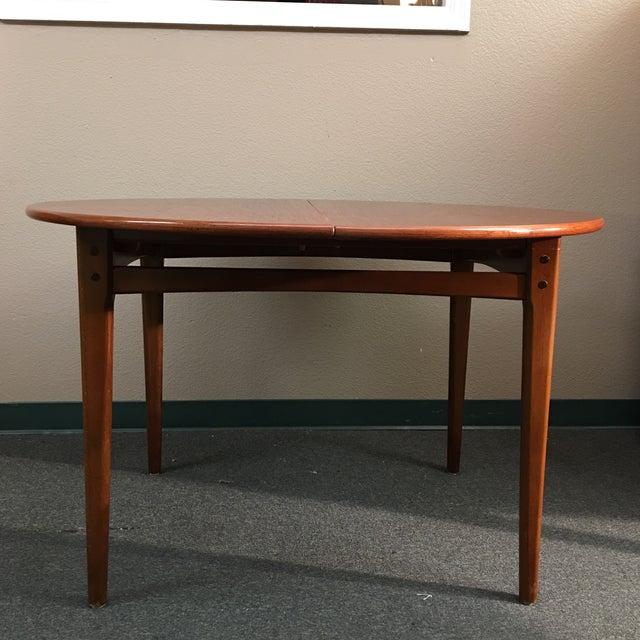Round Mid-Century Teak Dining Table - Image 3 of 10