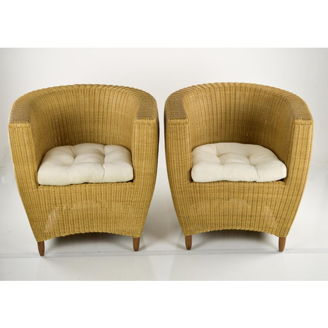 Mid-Century Modern Wicker Tub Chairs - Pair For Sale - Image 10 of 11