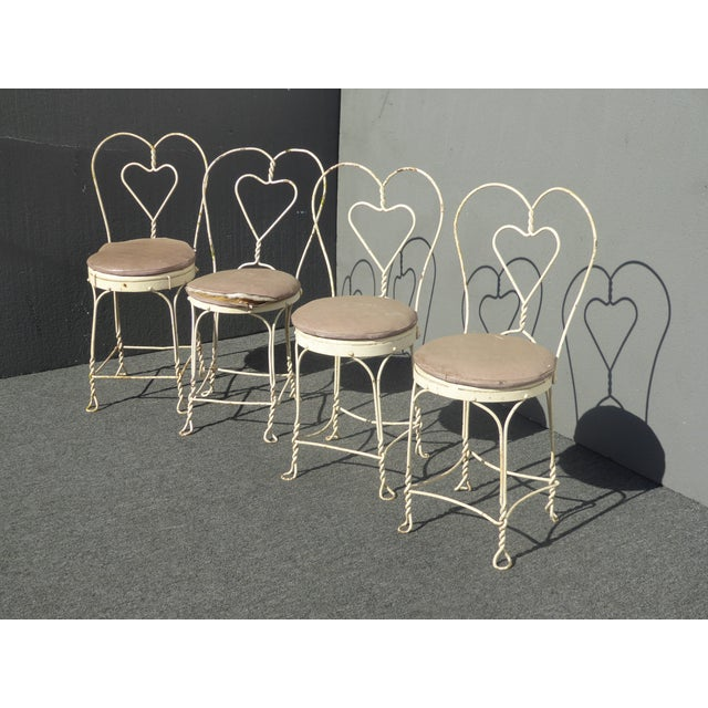1950s Vintage Farmhouse Industrial White Iron Table & Four Heart Shaped Chairs Set For Sale - Image 5 of 12