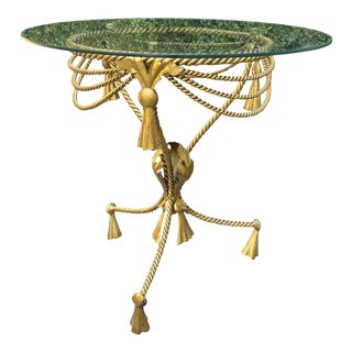 1950s Italian Gold Gilt Rope and Tassel Side Table For Sale