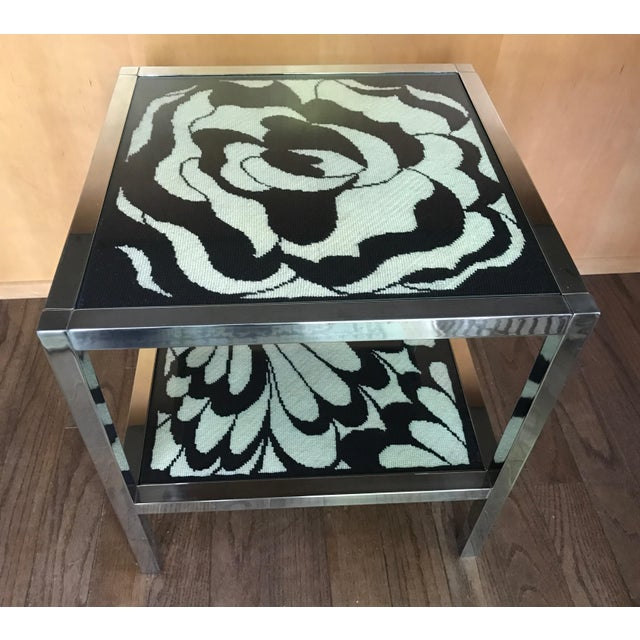 Mastercraft Chrome and Custom Pucci Style Needlepoint 1960's Side Table - Image 2 of 9