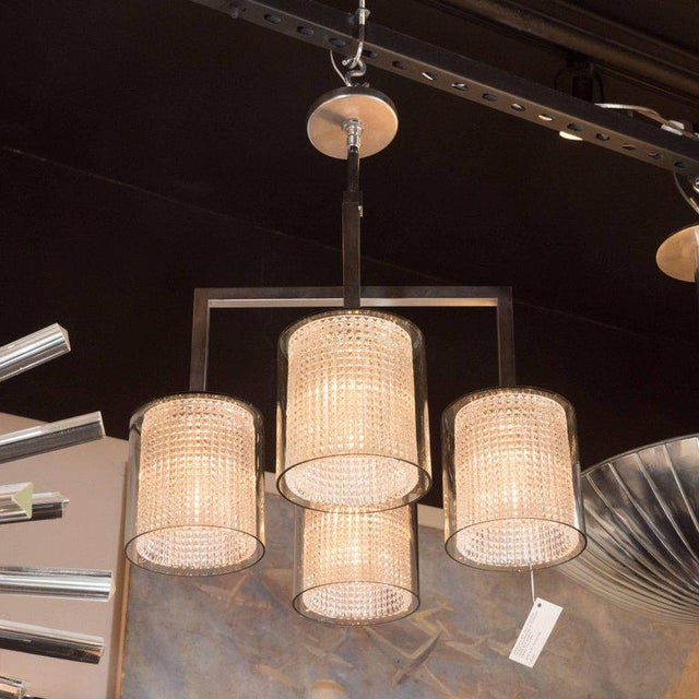 Metal Scandinavian Mid-Century Modern Four-Arm Chandelier, Carl Fagerlund for Orrefors For Sale - Image 7 of 11