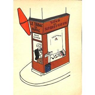 """Paris Storefront, French Lithograph, Le Tabac De Bouc, Guilac 1925, Matted 11 X 14"""" For Sale"""