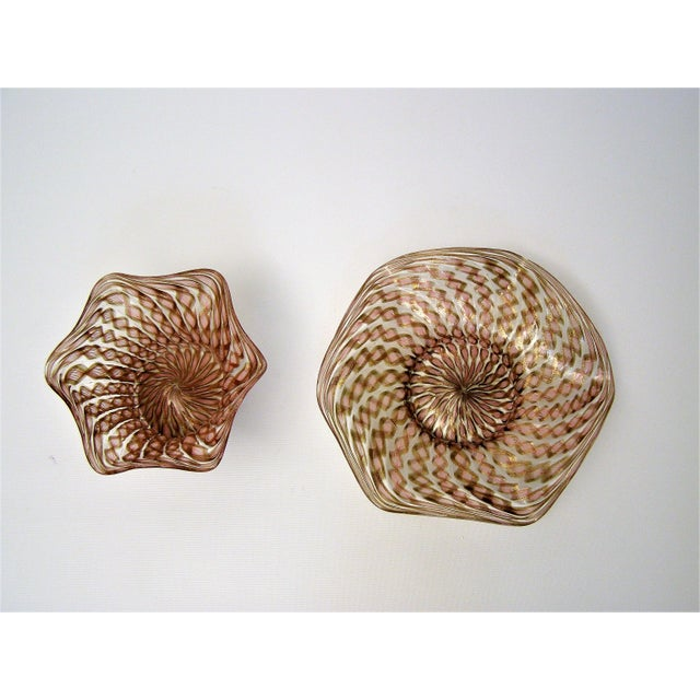 Vintage Venetian Zanfirico Latticino Glass Finger Bowl and Matching Plate by Salviati- 1950s Italy Italian Mid Century Modern MCM Millennial Pink For Sale In Miami - Image 6 of 11