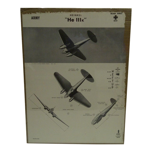WWII Heinkel He 111k Aircraft Recognition Poster For Sale