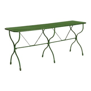 Kenneth Ludwig Green Distressed Factory Table For Sale