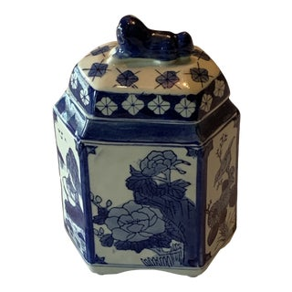 20th Century Asian Blue and White Tea Canister For Sale