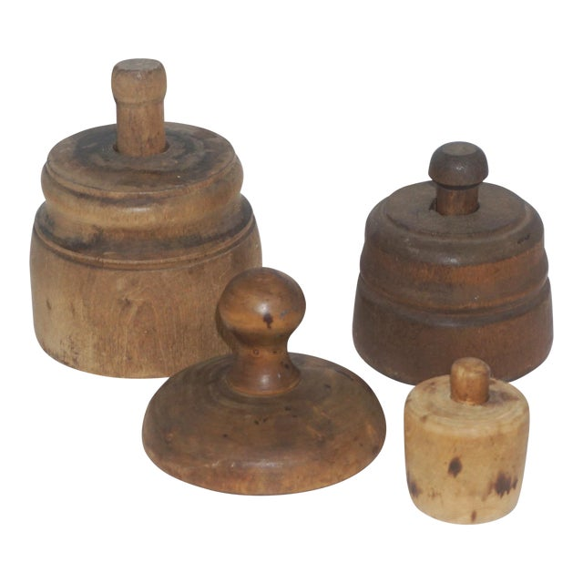 Collection of 4 Antique Butter Molds For Sale