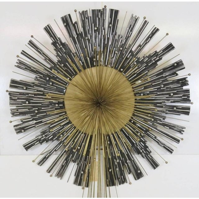 Brutalist Late 20th Century Vintage Curtis Jere Aluminum & Brass Wall Hanging Starburst For Sale - Image 3 of 5