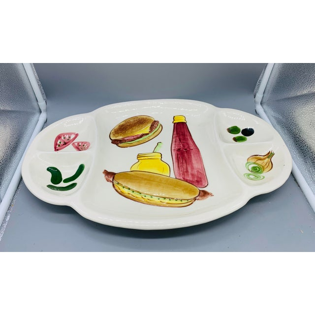 Ceramic Los Angeles Potteries Bbq Grill Sectional Platter/ Vintage Hamburger and Hot Dog Serving Plate For Sale - Image 7 of 11