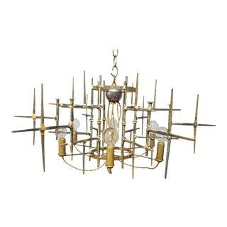 Brutalist Round Brass Chandelier For Sale