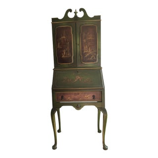 Emerald Green Chinoiserie Secretary Desk