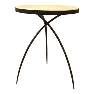 Modern Large Iron and Onyx Tripod Accent Table For Sale