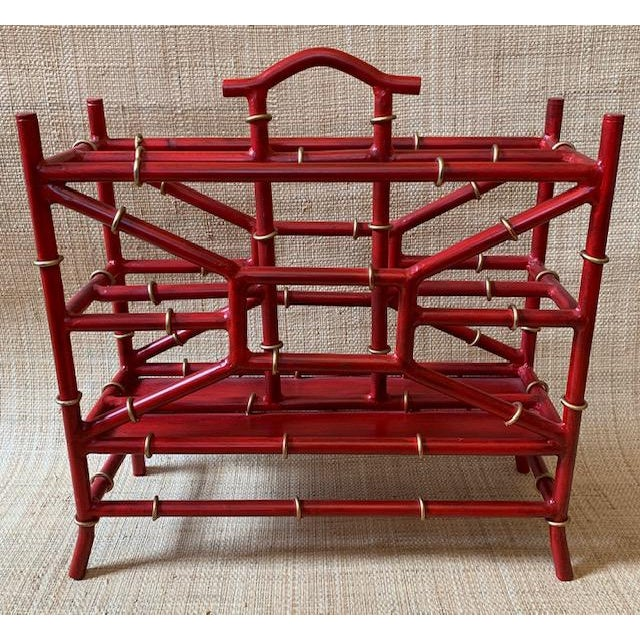 Maison Bagues Style Metal Bamboo Motif Magazine Rack For Sale - Image 4 of 7