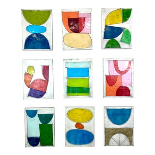 """""""Good in Heels"""" - Contemporary Encaustic Collage Painting Installation by Gina Cochran - Set of 9 For Sale"""