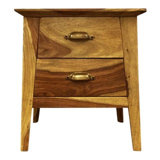 Two Drawer Wooden Bedside Table