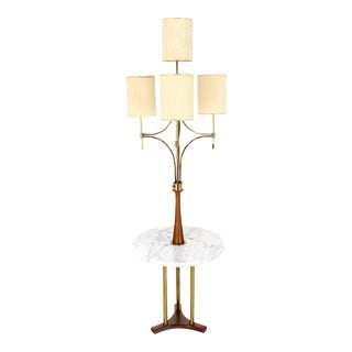 Mid-Century Modern Walnut, Brass, and Marble Floor Lamp For Sale