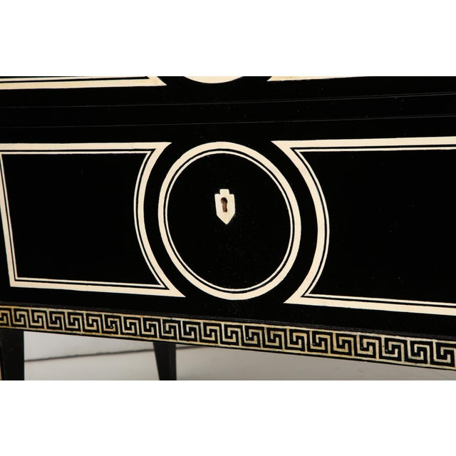 Black Pair of Custom Neoclassic Hand-Painted Commodes For Sale - Image 8 of 12