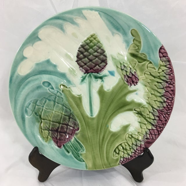 Rare Set of 12 Asparagus and Artichoke Plates With Serving Platter For Sale - Image 4 of 5