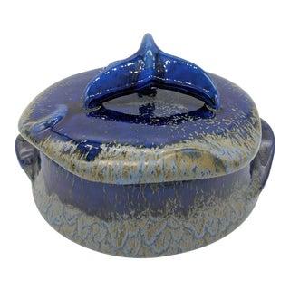 Doug Wylie Blue Ceramic Whale Lidded Pot Serving Dish For Sale