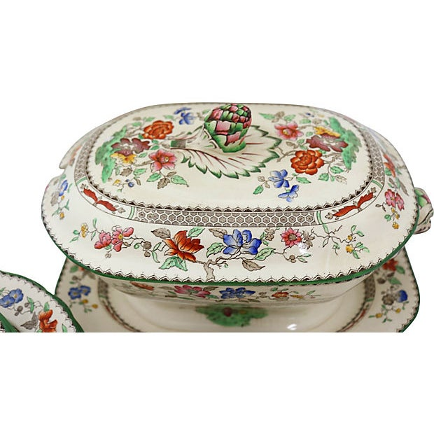 """23-piece Antique Copeland Spode dinner set in the Chinese Rose pattern. Seven small bowls, 6.5""""Dia x 1.25""""H; seven salad..."""