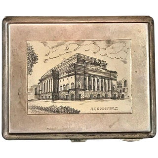 Soviet Sterling & Niello Enamel St. Petersburg Architectural View Box, 1960 For Sale
