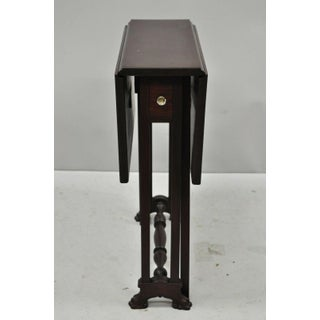 Antique Edwardian Mahogany Paw Foot Drop Leaf Side Table With Drawer Preview