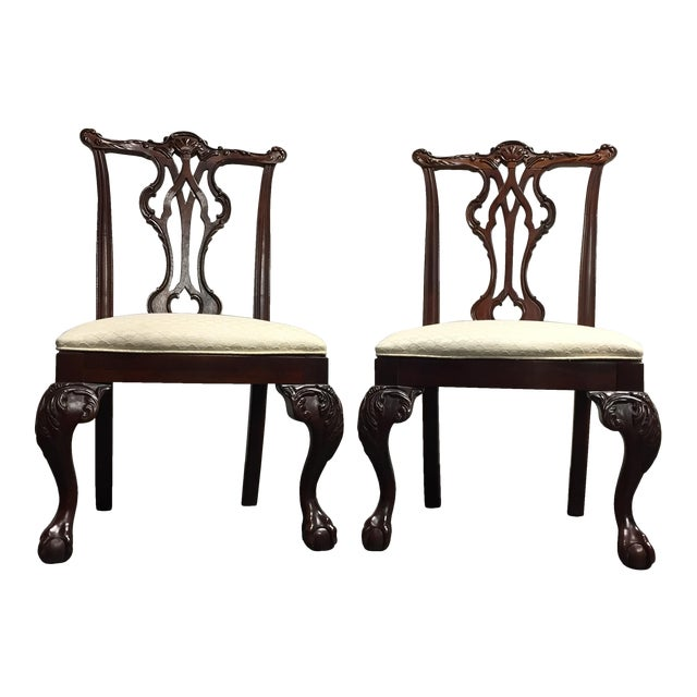 Thomasville Mahogany Collection Ball & Claw Dining Chairs - A Pair - Image 1 of 11