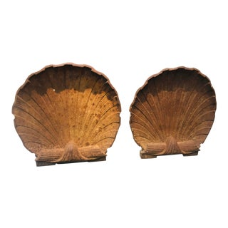Vintage Scallop Shell Andirons - a Pair For Sale