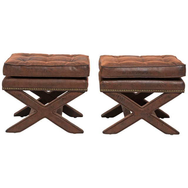 Billy Baldwin Style X-Benches - a Pair For Sale - Image 10 of 10
