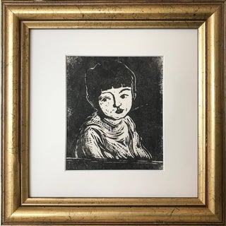 Vintage Modernist Woodblock Print of a Girl by Harold Davies For Sale