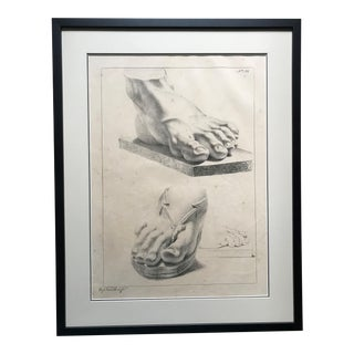 Study of Feet 2 Antique Lithograph For Sale