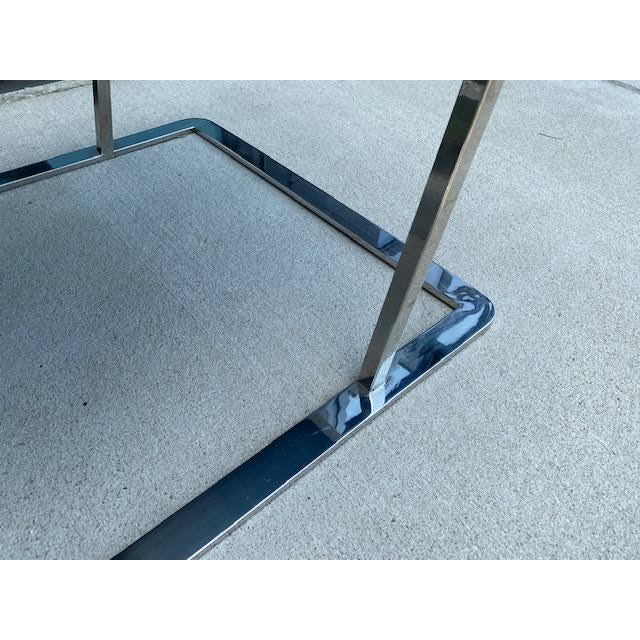 Metal Pair of Vintage Chrome Chairs, Newly Recovered in Hide For Sale - Image 7 of 11