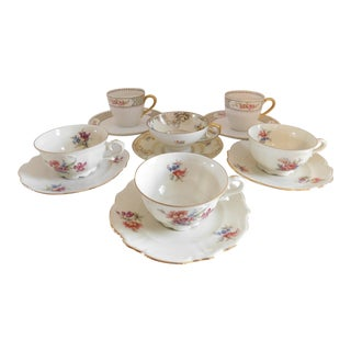 Antique Porcelain Demi-Tasse Cups & Saucers German and Limoges MIX and Match Sets - Set of Six For Sale