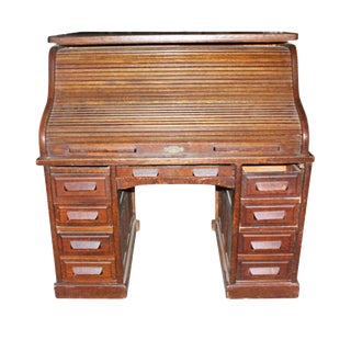 Antique Traditional Small Rolltop Desk For Sale