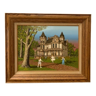 1980s Victorian House Portrait Serigraph, Framed For Sale