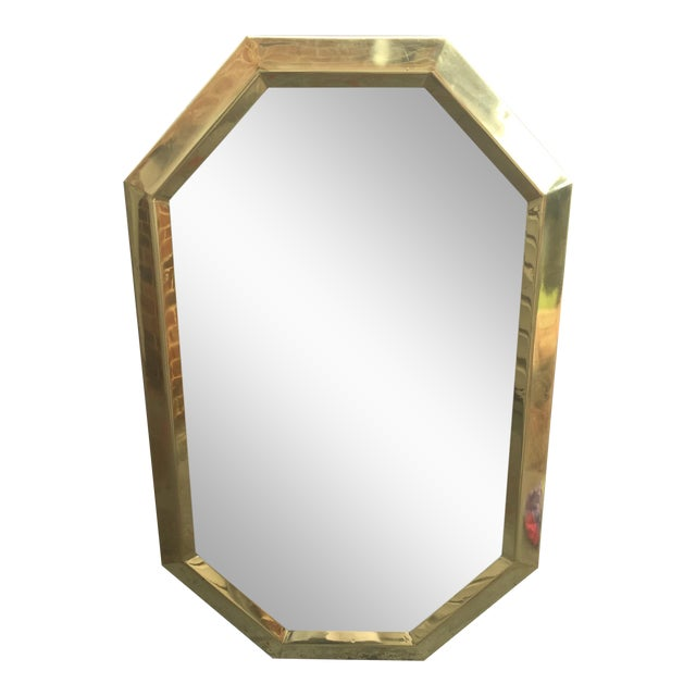 Mid Century Modernist Mastercraft Solid Brass Octagonal Mirror For Sale