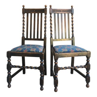 1920s Jacobean Style Oak Dining Chairs - a Pair For Sale