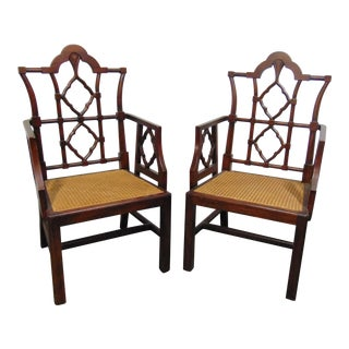 Chinese Chippendale Mahogany Arm Chairs - a Pair For Sale