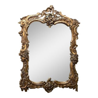 Antique Italian Baroque Gilded Carved Wood Mirror For Sale