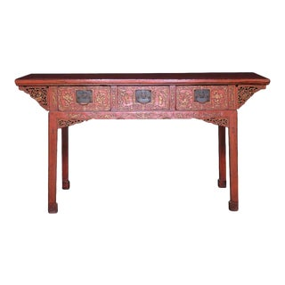 Antique Chinese Red Lacquered Painting Table For Sale
