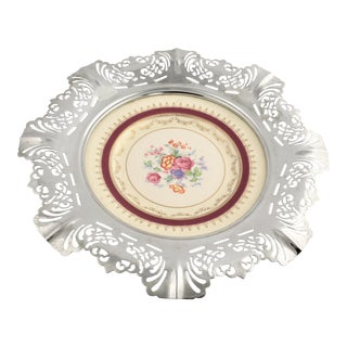 1940s Krome Kraft Farber Brothers Shabby Chic Reticulated Chrome & Ceramic Serving Tray For Sale
