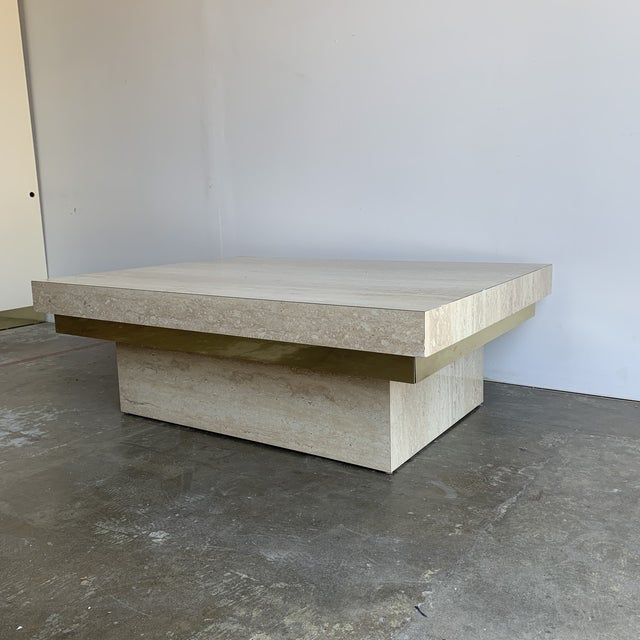 Faux Travertine and Brass Coffee Table For Sale - Image 12 of 12