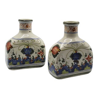 Antique Italian Faience Flasks, Pair For Sale