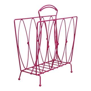 Mid-Century Fucshia Wire Magazine Rack For Sale