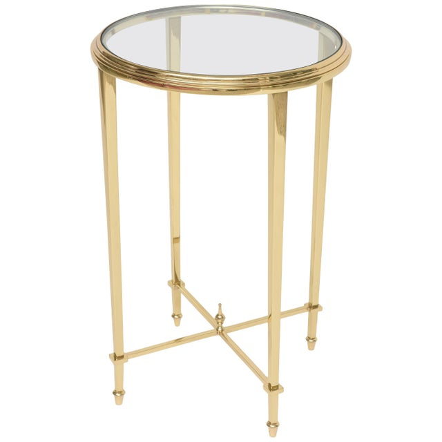 1960s Neoclassical Revival Round Brass Side Table For Sale - Image 10 of 10