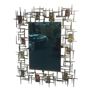 Amazing Brutalist Nail and Metal Mirror For Sale