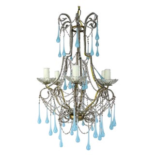 Six Light Crystal Beaded Chandelier With Aqua Drops, Circa 1930s For Sale