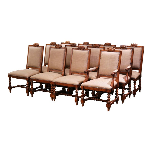 Suite of Twelve Carved Walnut Chairs From Ralph Lauren With Chenille and Leather For Sale