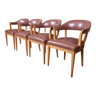 Edward Wormley for Dunbar Janus Collection Leather and Mahogany Dining Chairs, Set of Four For Sale